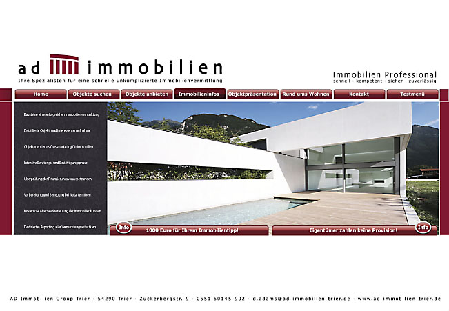 Homepage der AD Immobilien Group Trier