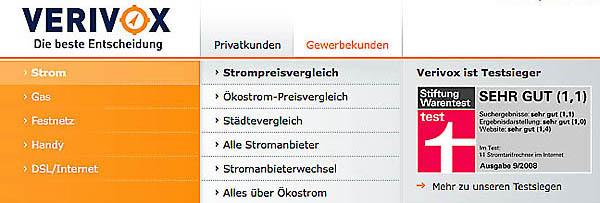 Startseite Online Stromvergleich bei Verivox.
